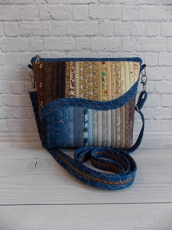 Patchwork bag, Sea, Patchwork, Ethno, Blue, Sand, Crossbody bag, Novosibirsk,  Фото №1