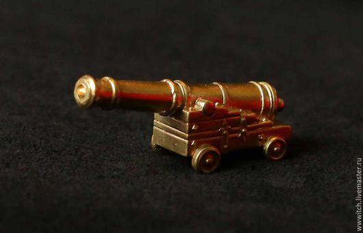 Сувенир ручной работы, пушка, артиллерийское орудие, латунь, подарок, фигурка, статуэтка, миниатюра, для коллекционеров