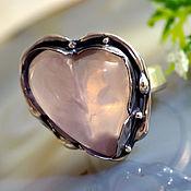 """Украшения ручной работы. Ярмарка Мастеров - ручная работа Кольцо """"Сердце куклы Суок"""" - розовый кварц, серебро. Handmade."""