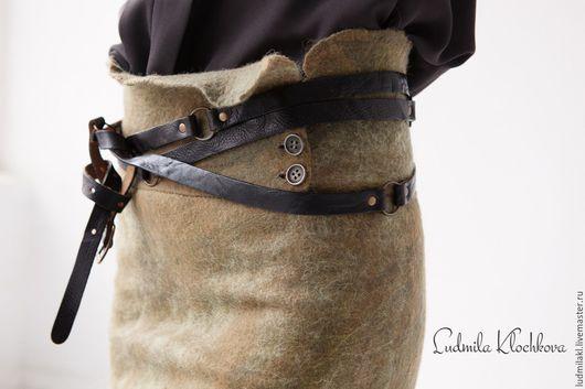 """Юбки ручной работы. Ярмарка Мастеров - ручная работа. Купить Юбка валяная """"Камыш"""". Handmade. Оливковый, теплая юбка-карандаш"""