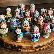 Русский стиль handmade. Livemaster - original item Key rings-matryoshka painted by the author, 5,5 cm and 4 cm. Handmade.