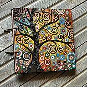 "Канцелярские товары handmade. Livemaster - original item Sketchbook wood cover 22x22sm ""Coloured dreams-3"". Handmade."