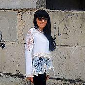 Одежда ручной работы. Ярмарка Мастеров - ручная работа Свитер-блузка с кружевом (№351). Handmade.