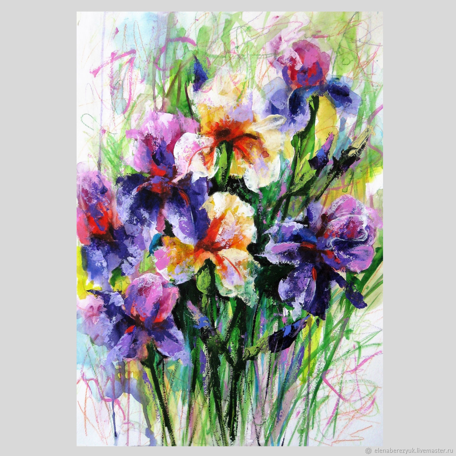 Flower paintings handmade livemaster handmade buy painting watercolor irises flowers interior decoration