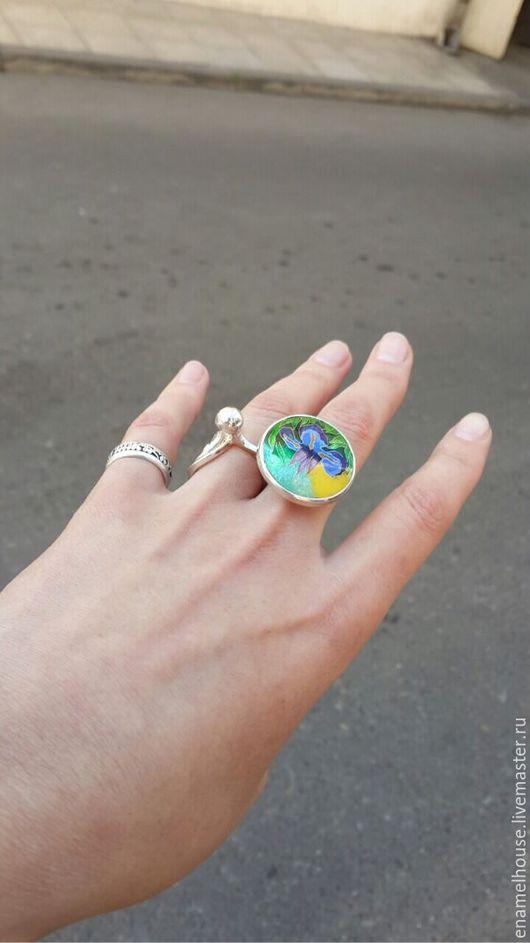 """Кольца ручной работы. Ярмарка Мастеров - ручная работа. Купить Кольцо """"Ирисы"""". Handmade. Разноцветный, подарок, голубой, фиолетовый, минанкари"""