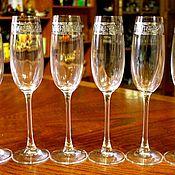 Винтаж handmade. Livemaster - original item Set of six champagne glasses, Bohemia, Czechoslovakia. Handmade.