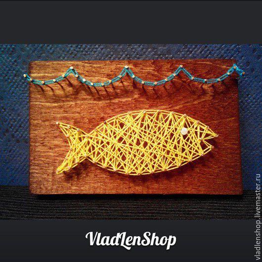 """Абстракция ручной работы. Ярмарка Мастеров - ручная работа. Купить Картина/панно """"Золотая рыбка"""". Handmade. Стрингарт, картина в подарок, vladlenshop"""