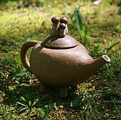 Посуда ручной работы. Ярмарка Мастеров - ручная работа Чайник с грибами. Handmade.