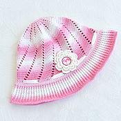 Аксессуары handmade. Livemaster - original item Pink knitted panama hat for girls