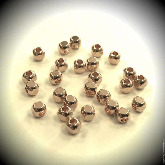 Для украшений ручной работы. Ярмарка Мастеров - ручная работа. Купить Бусина кубик 3:3 мм позолота. Handmade. Золотой