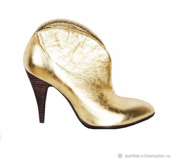 Ankle boots made of genuine leather gold color, Ankle boots, Nelidovo,  Фото №1