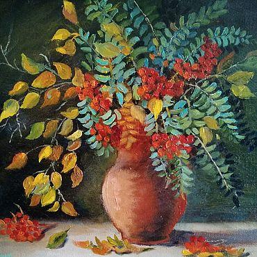 Картины и панно ручной работы. Ярмарка Мастеров - ручная работа Осенний букет с рябиной. Handmade.