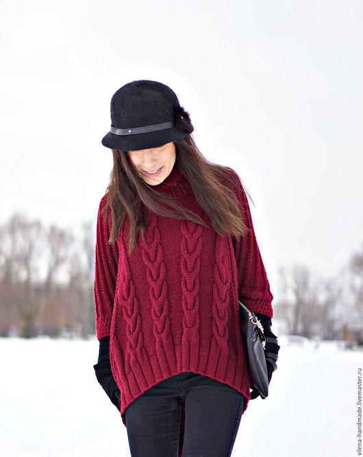Пончо ручной работы. Ярмарка Мастеров - ручная работа. Купить Пуловер-пончо. Handmade. Бордовый, косы, пуловер-пончо