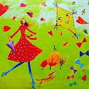 """Картины ручной работы. Ярмарка Мастеров - ручная работа Картина маслом """"Воздушный змей"""".. Handmade."""