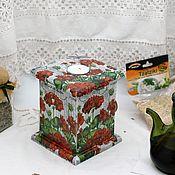 Для дома и интерьера handmade. Livemaster - original item Box candle holder Geranium decoupage. Handmade.
