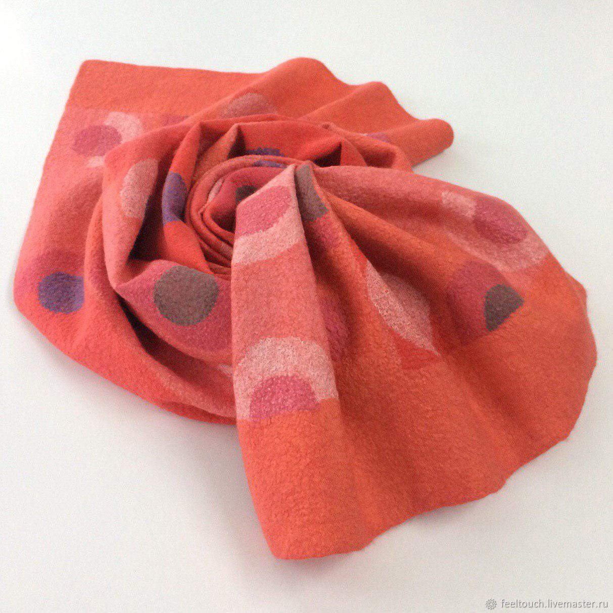 "Scarves handmade. Livemaster - handmade. Buy Шарф валяный ""Coral color"".Handmade, scarf made of wool, Nuno-felt"