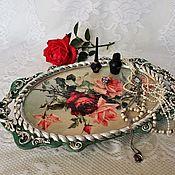 Для дома и интерьера handmade. Livemaster - original item Serving tray wooden oval Roses in silver.. Handmade.