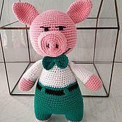 Куклы и игрушки handmade. Livemaster - original item Pig groom in turquoise pants-a symbol of 2019.. Handmade.