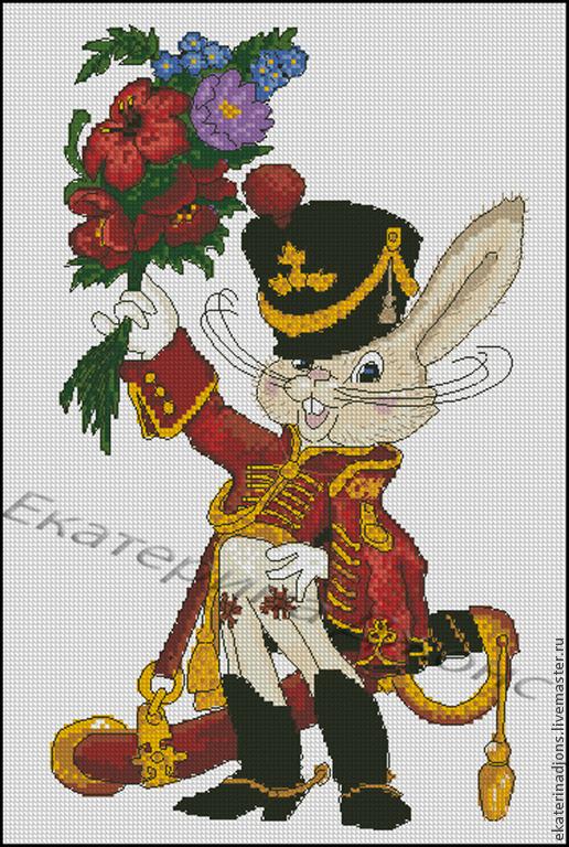 Заяц-гусар. Авторская цветная схема для вышивки крестом.