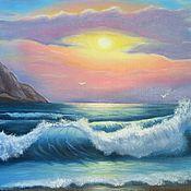 """Картины и панно ручной работы. Ярмарка Мастеров - ручная работа Картина маслом """"Волна на закате"""". Handmade."""