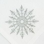 Подарки к праздникам handmade. Livemaster - original item Christmas napkin with embroidery snowflake (grey). Handmade.