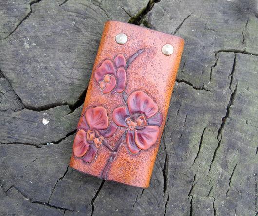 """Кошельки и визитницы ручной работы. Ярмарка Мастеров - ручная работа. Купить Ключница """"Орхидея"""". Handmade. Рыжий, цветы, ключи"""