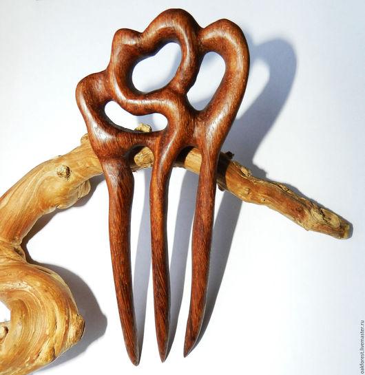 """Заколки ручной работы. Ярмарка Мастеров - ручная работа. Купить Заколка для волос из дерева """"Красное вино"""" (мербау). Handmade."""
