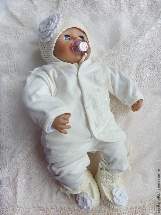 """Для новорожденных, ручной работы. Ярмарка Мастеров - ручная работа. Купить Комплект """"Нежный"""". Handmade. Кремовый, подарок на рождение, хлопок"""