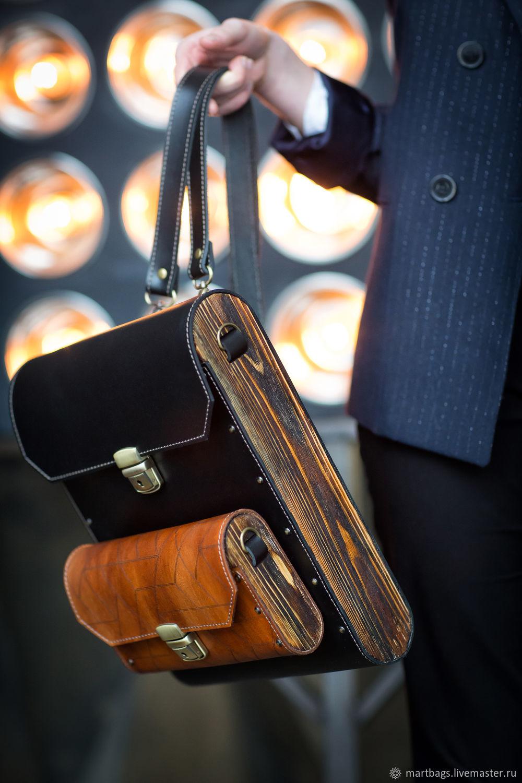 bag of leather and wood backpack wood black leather clutch women's custom made designer handbag convertible crossbody bag wooden design clutch bag