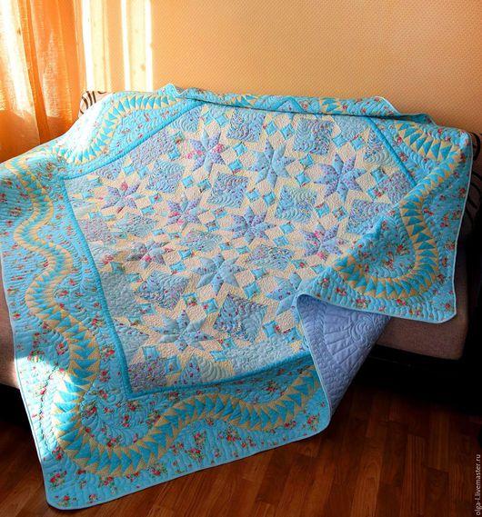 """Текстиль, ковры ручной работы. Ярмарка Мастеров - ручная работа. Купить Комплект Покрывало лоскутное """"Свежесть""""  пэчворк. Квилтинг. Handmade."""