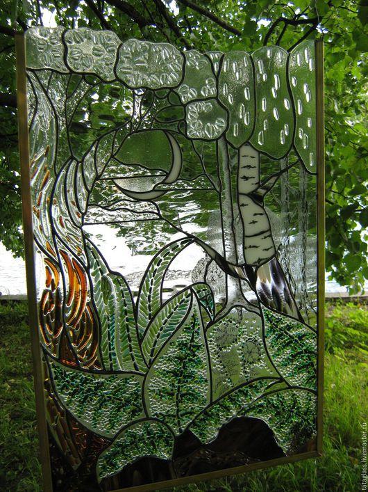 """Пейзаж ручной работы. Ярмарка Мастеров - ручная работа. Купить Картина из стекла """"Лес"""". Handmade. Витраж, картина из стекла, припой"""