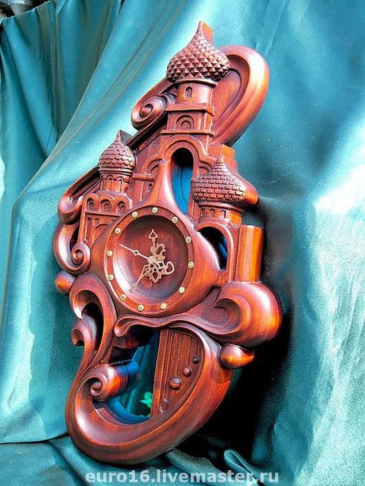 Часы для дома ручной работы. Ярмарка Мастеров - ручная работа. Купить Купола-3. Handmade. Резьба, дерево, храм, бордовый