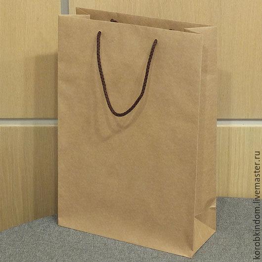 Упаковка ручной работы. Ярмарка Мастеров - ручная работа. Купить Крафт-пакет 25х36х10 с ручками веревочными. Handmade. Пакет