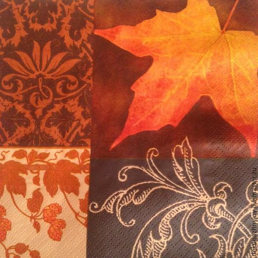 Листья, осень, фон золотистый Салфетка для декупажа Декупажная радость
