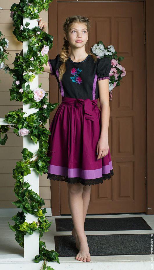 Одежда для девочек, ручной работы. Ярмарка Мастеров - ручная работа. Купить Платье с вышивкой для девочки. Handmade. Фиолетовый, платье с вышивкой