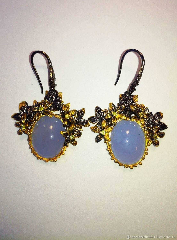 Pre-Dawn garden earrings with blue chalcedony, Earrings, Novaya Usman,  Фото №1