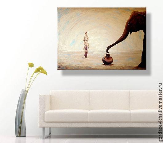 Символизм ручной работы. Ярмарка Мастеров - ручная работа. Купить Сказочный слон... Картина маслом, холст.. Handmade. Картина маслом