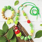 Одежда handmade. Livemaster - original item Set slingobusy and teether Watermelon green red. Handmade.