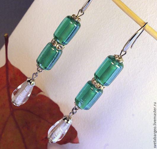 Серьги ручной работы. Ярмарка Мастеров - ручная работа. Купить Серьги муранское стекло, длинные,со стразами,серебристая  фурнитура. Handmade.
