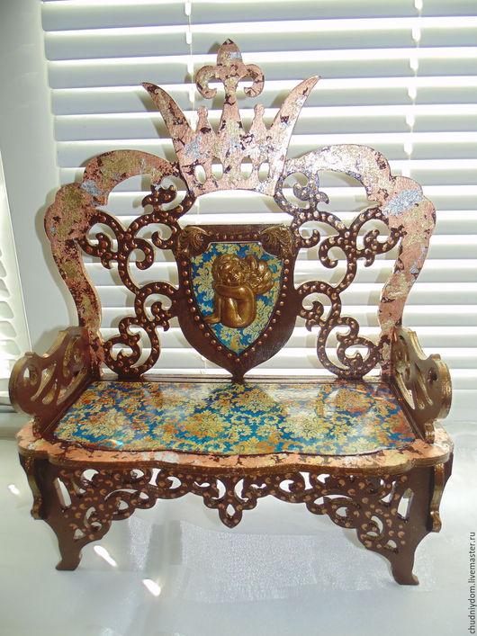 """Кукольный дом ручной работы. Ярмарка Мастеров - ручная работа. Купить Кукольный диванчик-трон """"Роскошный барокко"""" (БОЛЬШОЙ). Handmade."""