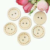 Пуговицы деревянные круглые с декором 15мм