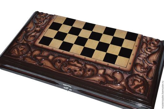 Настольные игры ручной работы. Ярмарка Мастеров - ручная работа. Купить комплект 3 в 1 Шахматы/нарды/шашки деревянные резные с аэрографией. Handmade.