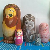 Куклы и игрушки handmade. Livemaster - original item Matryoshka Masha and the bear cartoon 5 seats. Handmade.