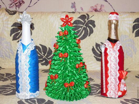 Новый год 2017 ручной работы. Ярмарка Мастеров - ручная работа. Купить Новогодние костюмы на шампанское. Дед Мороз и снегурочка. Handmade.