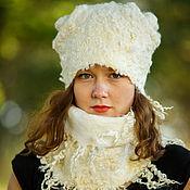 Аксессуары ручной работы. Ярмарка Мастеров - ручная работа Комплект шапка и шарф Белое. Handmade.
