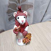 Год Крысы ручной работы. Ярмарка Мастеров - ручная работа Мышка с баранками. Handmade.