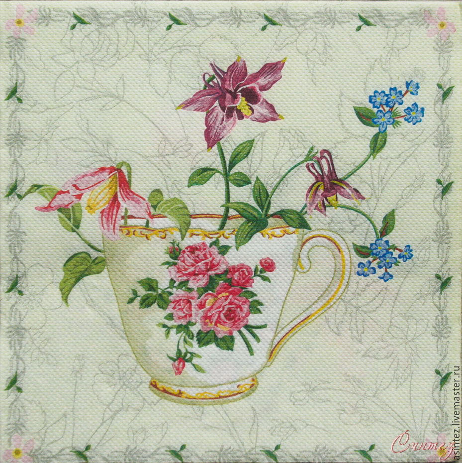 Napkin for decoupage Cup of flowers, Napkins for decoupage, Moscow,  Фото №1