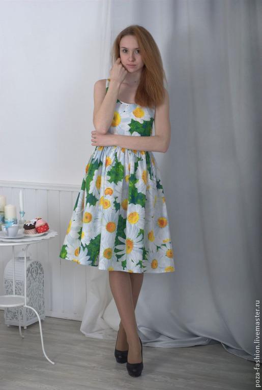 Платья ручной работы. Ярмарка Мастеров - ручная работа. Купить Платье Ромашка. Handmade. Разноцветный, красивое платье, хлопковое платье