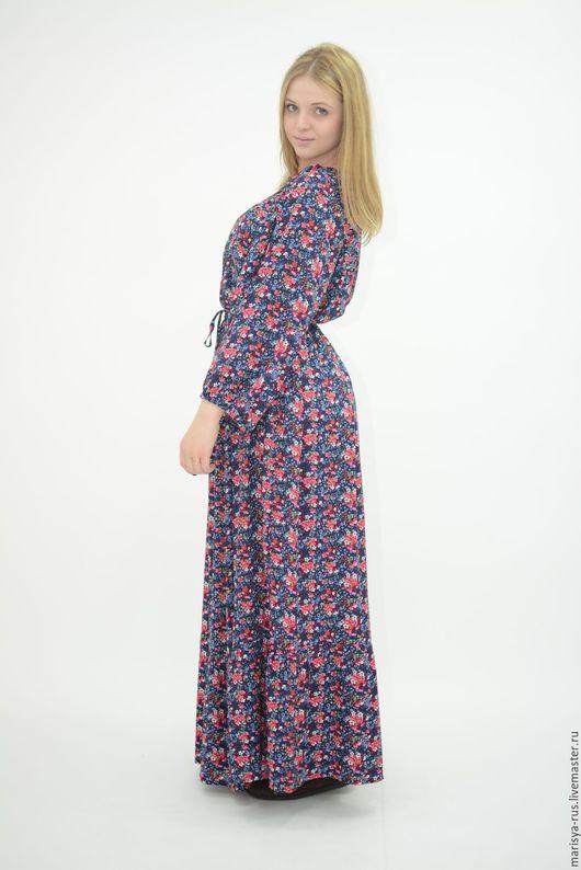 """Платья ручной работы. Ярмарка Мастеров - ручная работа. Купить Платье """"Крестьянка"""". Handmade. Тёмно-синий, летнее платье"""