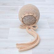 Работы для детей, handmade. Livemaster - original item Cap newborn photo shoot Peach. Handmade.